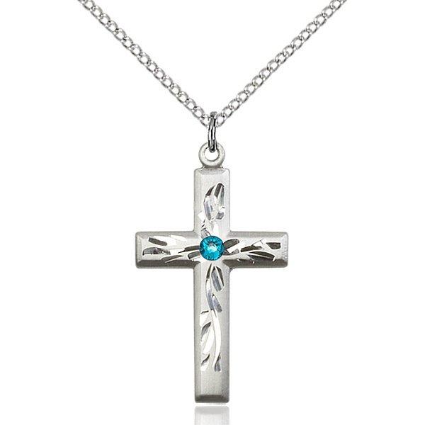 Cross Pendant - December Birthstone - Sterling Silver #89002