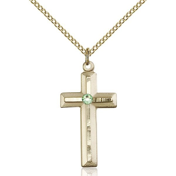 Cross Pendant - August Birthstone - Gold Filled #89021