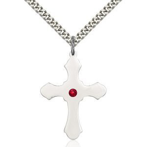 Cross Pendant - July Birthstone - Sterling Silver #89452