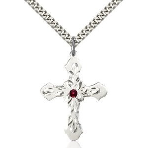 Cross Pendant - January Birthstone - Sterling Silver #89467