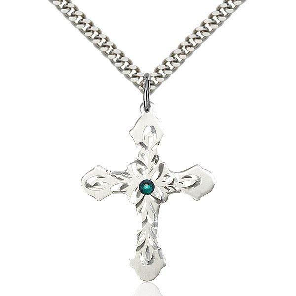 Cross Pendant - May Birthstone - Sterling Silver #89474