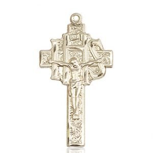 14kt Gold Crucifix-IHS Medal #86898