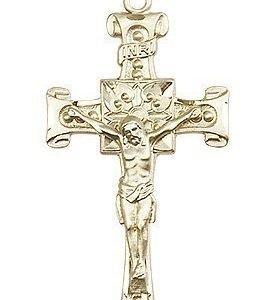 14kt Gold Crucifix Medal #87027