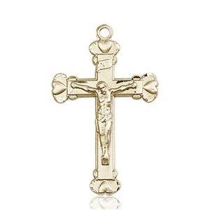 14kt Gold Crucifix Medal #87083