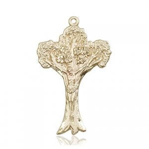 Crucifix Medal - 14 KT Gold (#87111)