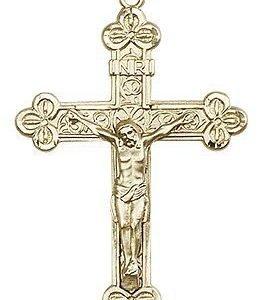 14kt Gold Crucifix Medal #87127