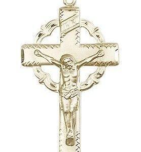 14kt Gold Crucifix Medal #87131