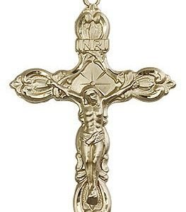 14kt Gold Crucifix Medal #87159