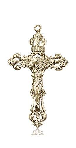 14kt Gold Crucifix Medal #87163