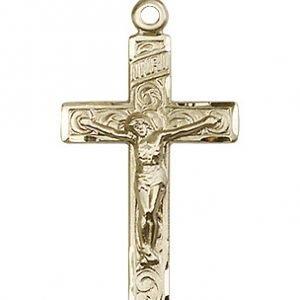 14kt Gold Crucifix Medal #87191