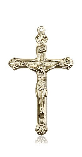 14kt Gold Crucifix Medal #87215