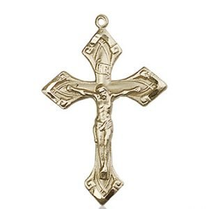 14kt Gold Crucifix Medal #87239