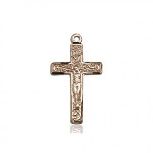 14kt Gold Crucifix Medal #87275