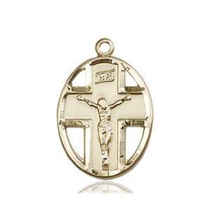 14kt Gold Crucifix Medal #87331