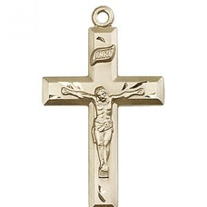 14kt Gold Crucifix Medal #87450