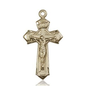 14kt Gold Crucifix Medal #88129