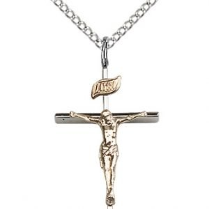 Two-Tone GF - SS Crucifix Necklace #87488
