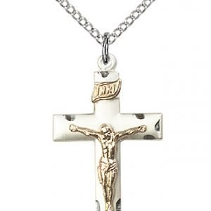 Two-Tone GF - SS Crucifix Necklace #87552