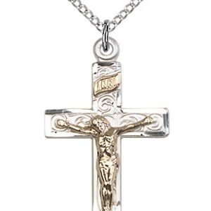 Two-Tone GF - SS Crucifix Necklace #87558