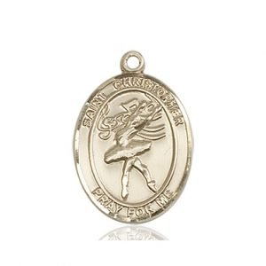 14kt Gold St Christopher / Dance Medal