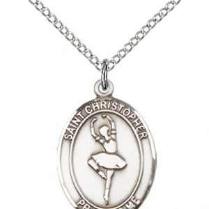 Sterling Silver St. Christopher/Dance Pendant