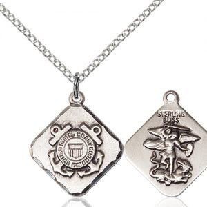 Sterling Silver Coast Guard Diamond Pendant