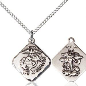 Sterling Silver Marines Diamond Pendant