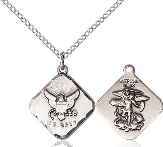 Sterling Silver Navy Diamond Pendant