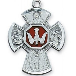 Sterling Silver Four Way Medal with Holy Spirit Center
