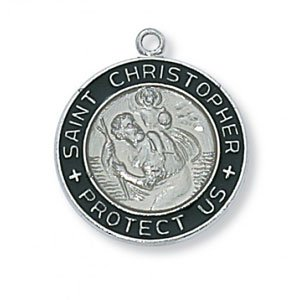 Distinctive St. Christopher Medal in Sterling Silver with Dark Enamel outer edge