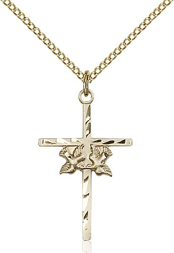 Gold Filled Doves - Cross Necklace #87812