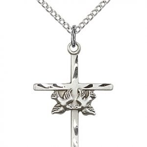 Sterling Silver Doves - Cross Necklace #87815