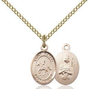 Gold Filled St. Kateri / Equestrian Pendant