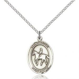 Sterling Silver St. Kateri / Equestrian Pendant