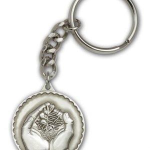 Antique Silver Faith Hand Serenity Keychain
