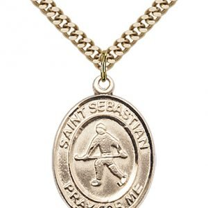 Gold Filled St. Sebastian/Field Hockey Pendant