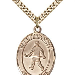 Gold Filled St. Christopher / Field Hockey Pendant