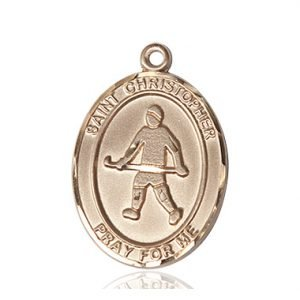 14kt Gold St. Christopher / Field Hockey Medal