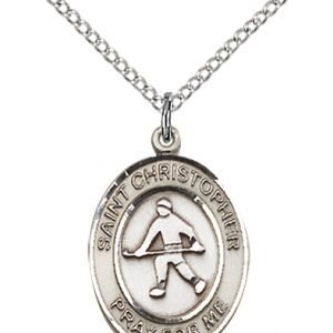 Sterling Silver St. Christopher / Field Hockey Pendant