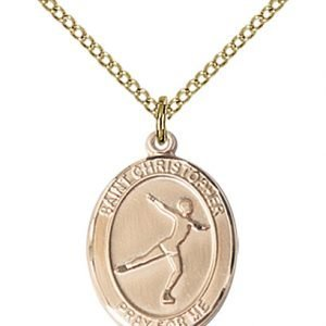 Gold Filled St. Christopher/Figure Skating Pendant
