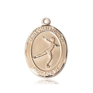 14kt Gold St. Christopher/Figure Skating Medal
