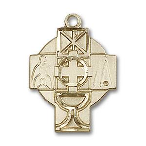 First Communion Medal Cross Gold Filled