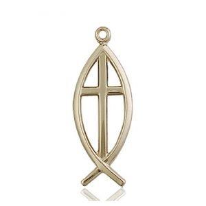14kt Gold Fish - Cross Medal #87634