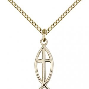 Gold Filled Fish - Cross Necklace #87628