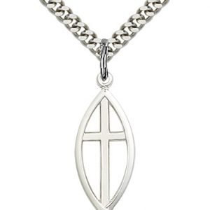 Sterling Silver Fish - Cross Necklace #87635