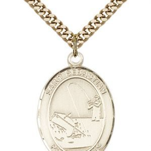 Gold Filled St. Sebastian / Fishing Pendant