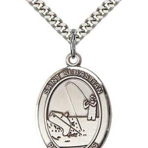 Sterling Silver St. Sebastian / Fishing Pendant