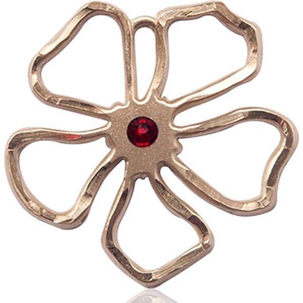Five Pedal Flower Medal - January Birthstone - 14 KT Gold #88876