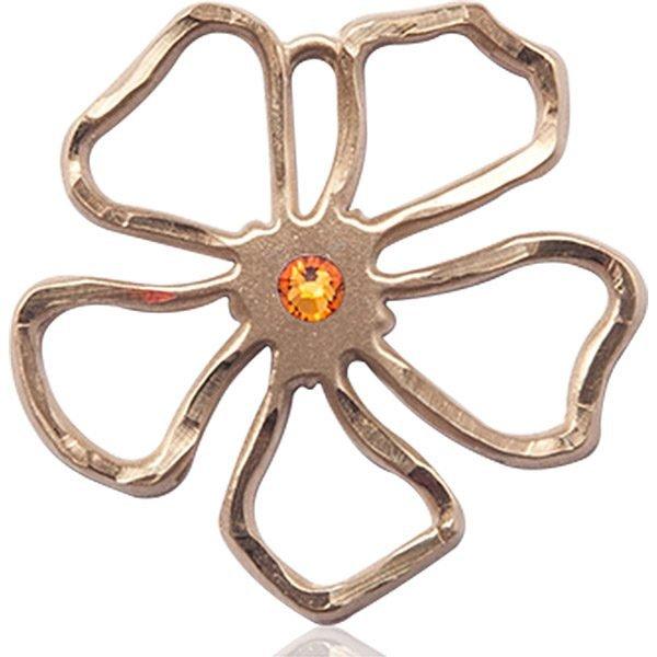 Five Pedal Flower Medal - November Birthstone - 14 KT Gold #88878