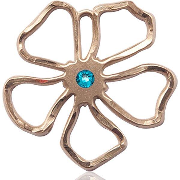 Five Pedal Flower Medal - December Birthstone - 14 KT Gold #88879